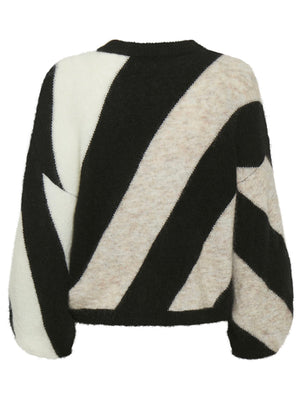 GESTUZ DEBBIEGZ IS PULLOVER SAND BLACK STRIPE