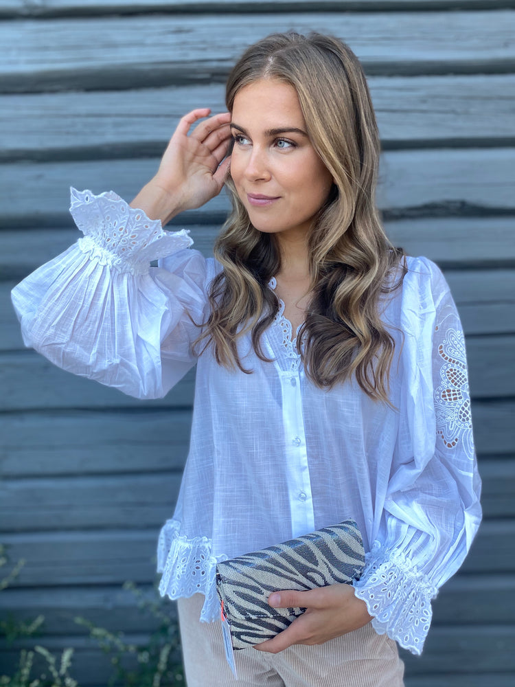 TIMO COTTON SLUB FRILL SHIRT