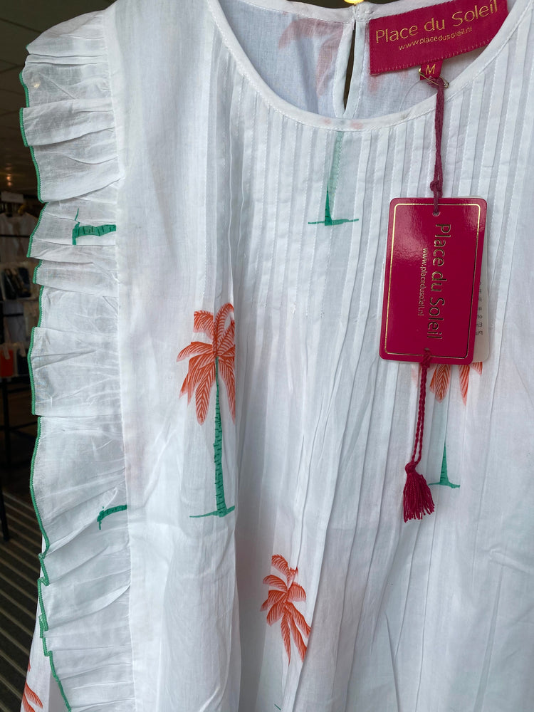 Load image into Gallery viewer, PLACE DU SOLEIL BLOUSE WHITE PALMS FRILLS