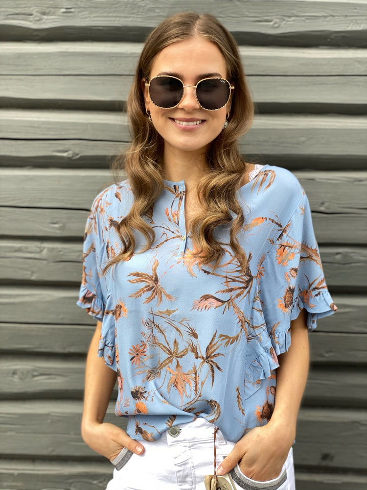 Load image into Gallery viewer, MOS MOSH TARA THISTLE BLOUSE BEL AIR BLUE