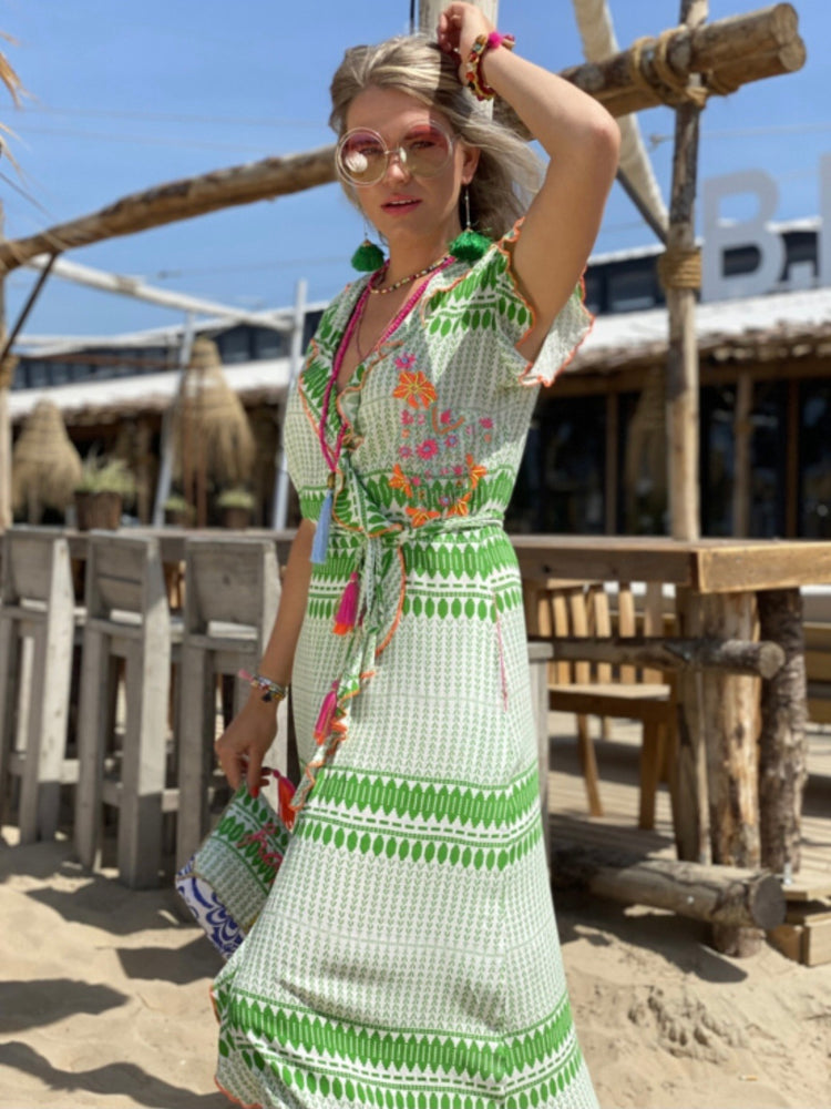 PLACE DU SOLEIL WRAP DRESS LONG GREEN/WHITE EMBRODERY