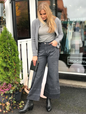 PLEASE WIDE LEG NERO DENIM