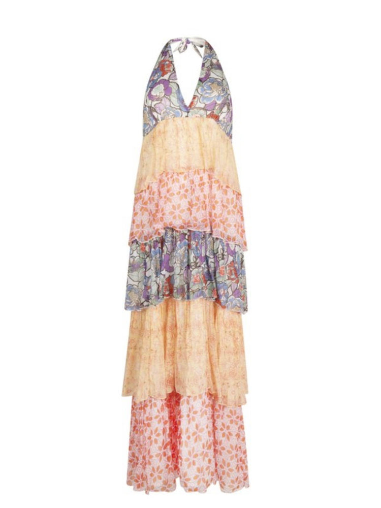 Load image into Gallery viewer, PLACE DE SOLEIL DRESS LONG LAYERS SLEEVELESS MIX MATCH