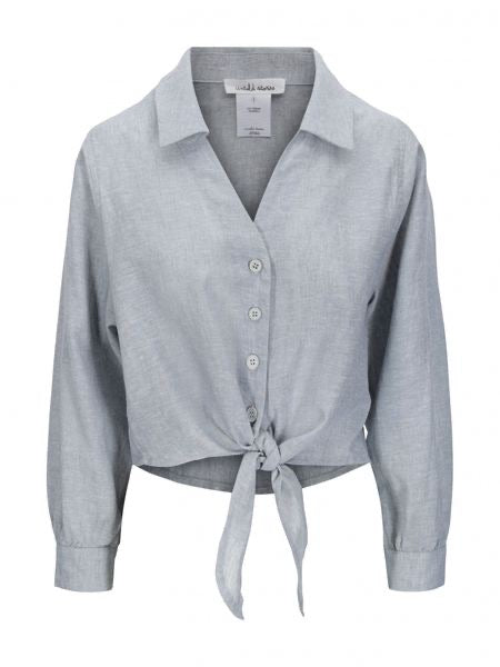 UNTOLD STORIES HARPER TIE FRONT SHIRT AQUA GREY