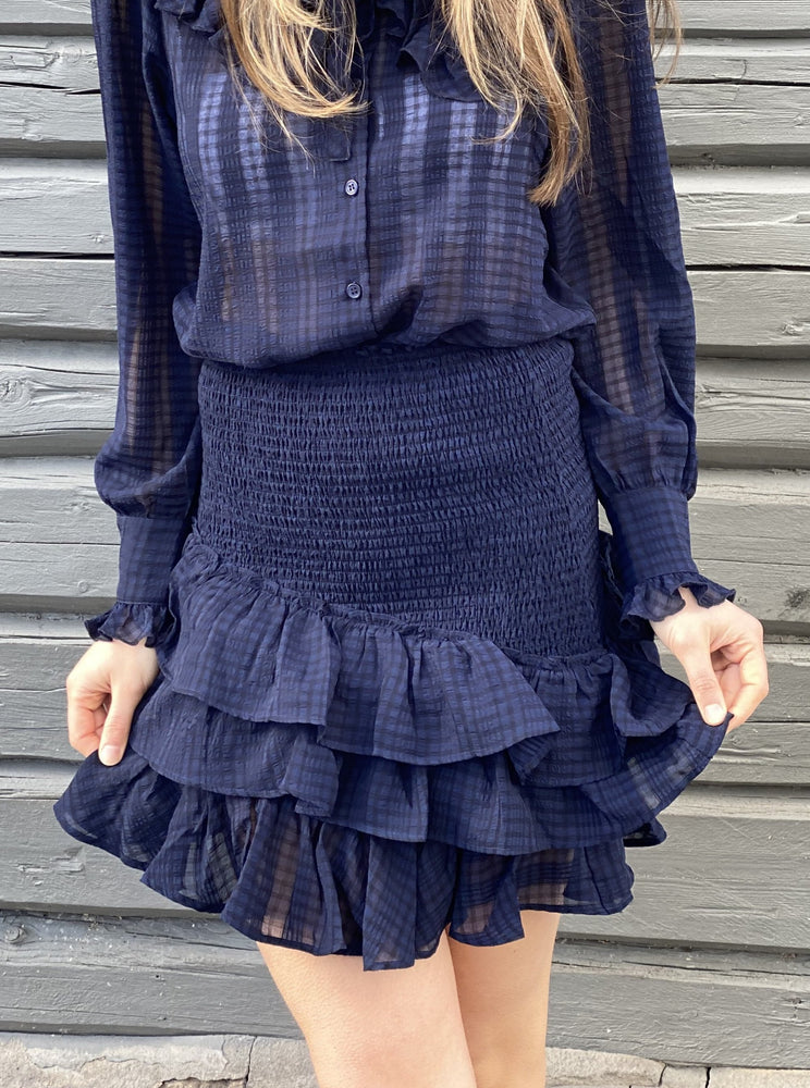 MAUD SUMMER CHECK SKIRT BLÅ