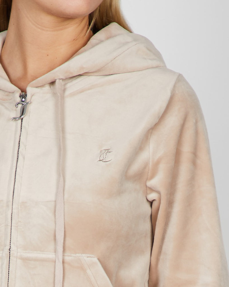 JUICY COUTURE VELOUR ZIP HOODIE WARM TAUPE