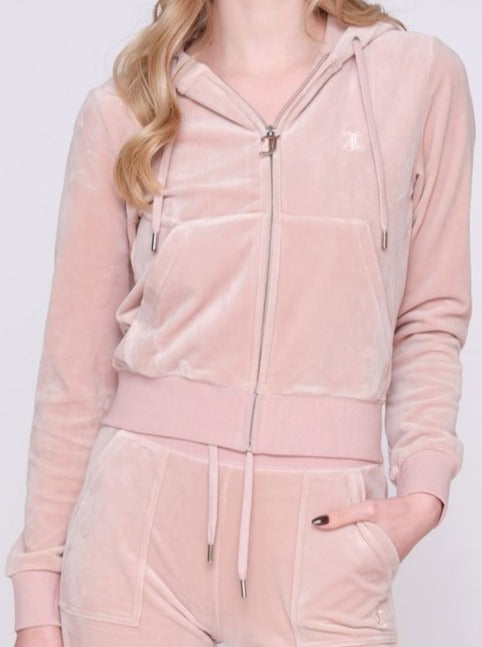 JUICY COUTURE VELOUR ZIP HOODIE SHADOW GREY