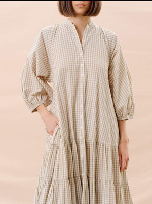 BY TI MO CHECKS KAFTAN DRESS BEIGE CHECKS