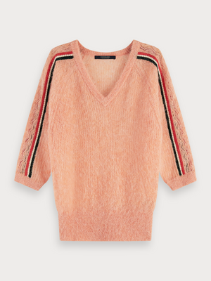 Load image into Gallery viewer, SCOTCH & SODA FEMININE PULLOVER WITH STRIPE DETAILS