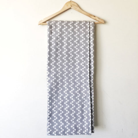 Foldable Travel Quilt - Grey Zig Zag Crosses