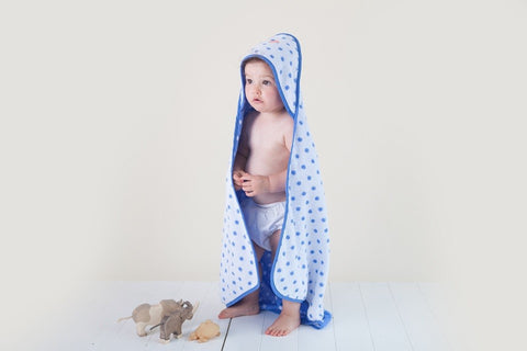 Troupe Hooded Towel - Blue Dots