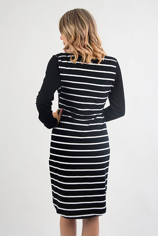Diagonal Striped Nursing Dress