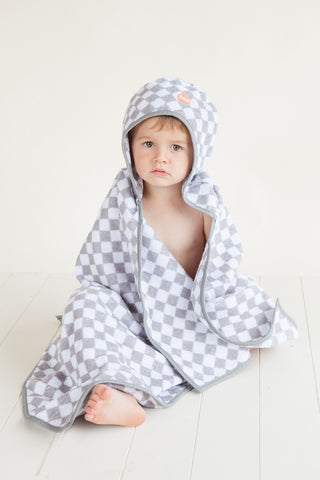 Troupe Hooded Kids Towel - Checkerboard