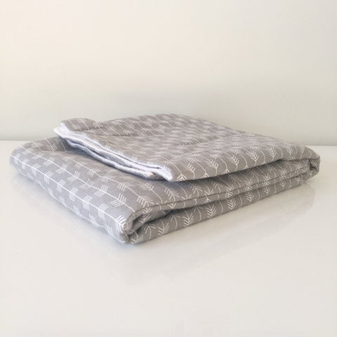 Foldable Travel Quilt - Herringbone Grey