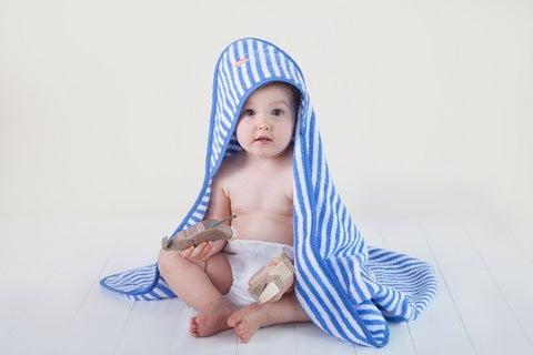 Troupe Hooded Towel - Blue Stripes
