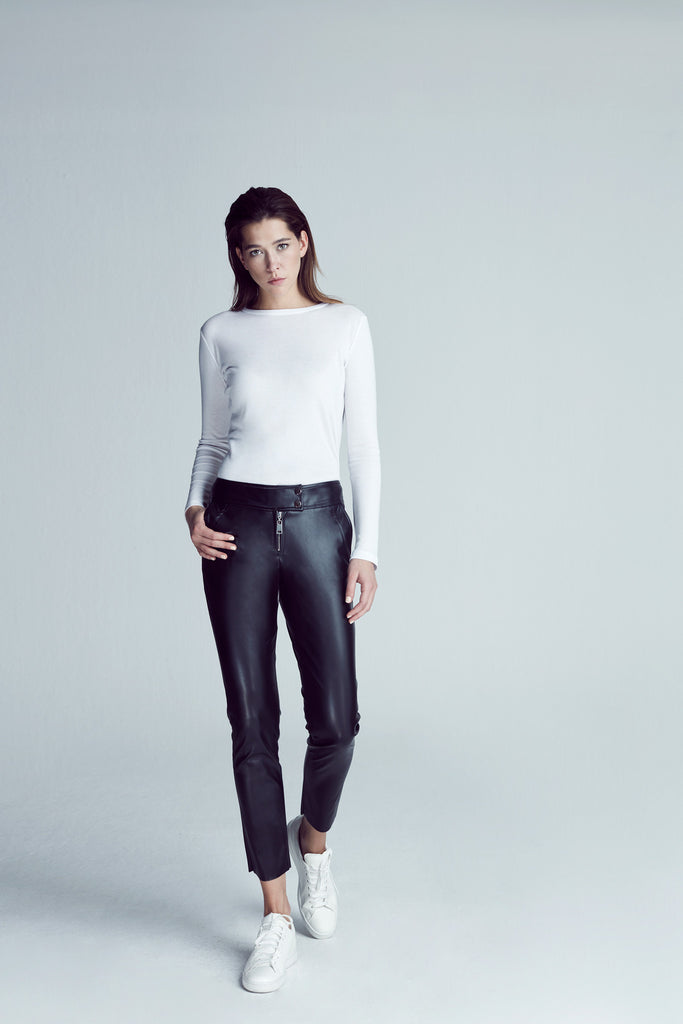 LOW WAIST LEATHER PANT / BLACK