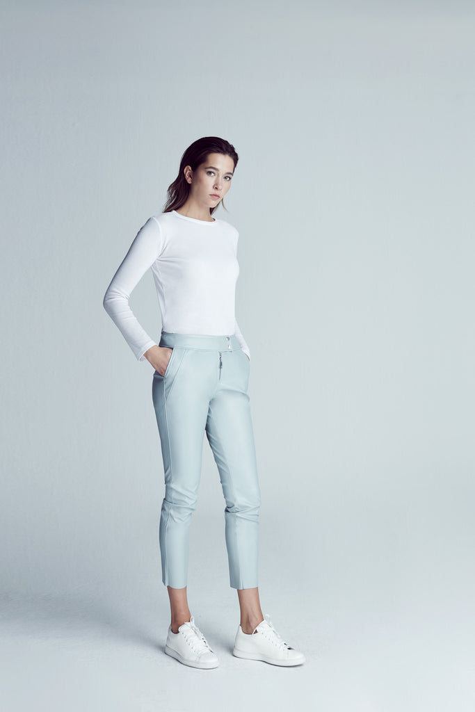 LOW WAIST LEATHER PANT / ICE BLUE