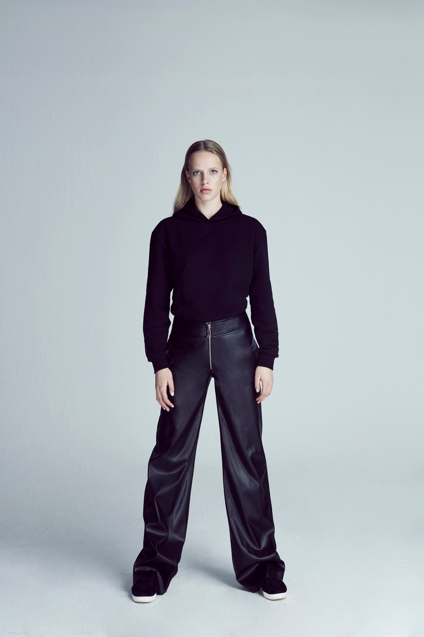 HIGH WAIST LEATHER PANT / BLACK