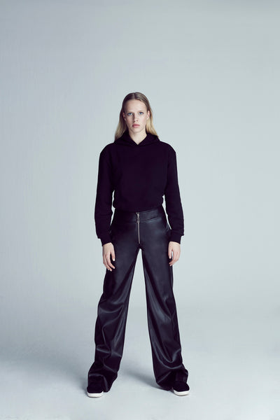 High Waist Leather Pant - Black