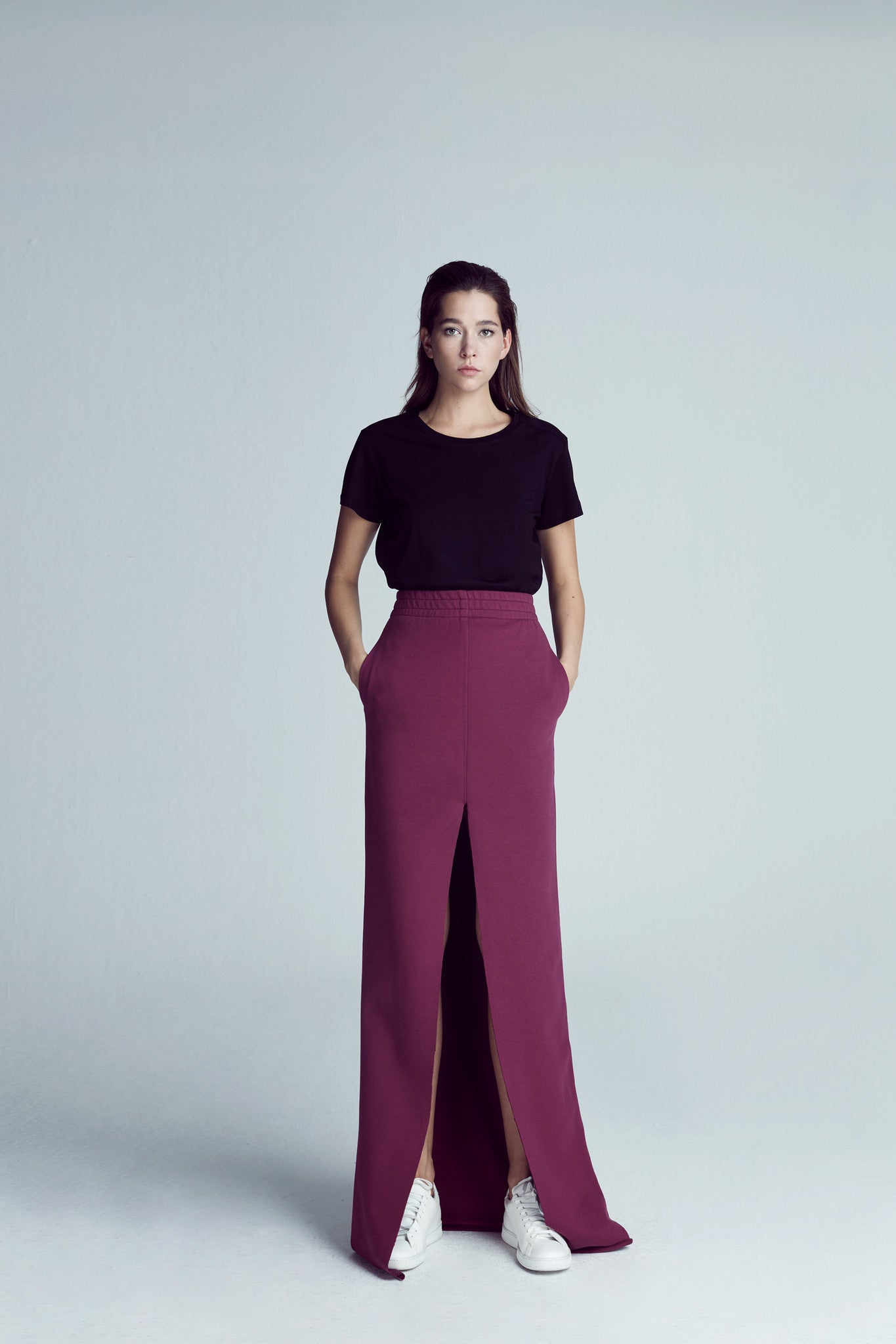 LOGO PRINTED MAXI SKIRT / BURGUNDY