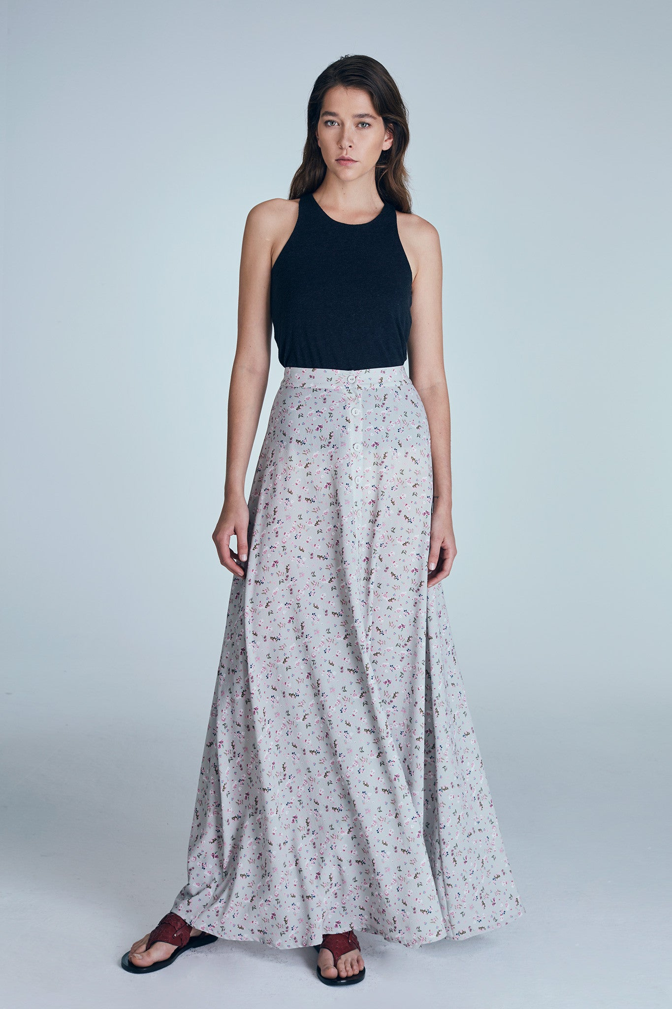 VICTORIA SKIRT / FLORAL - GREY