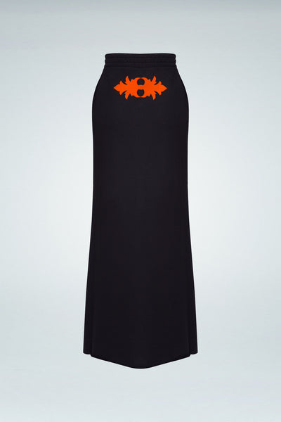 Logo Printed Maxi Skirt - Black