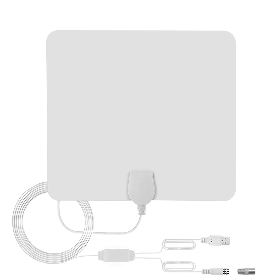White HDTV Antenna - With Signal Amplifier Booster 1080P 80Mile Range