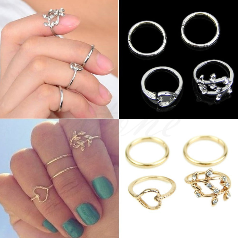 4PCS/Set Rings Urban Gold Plated