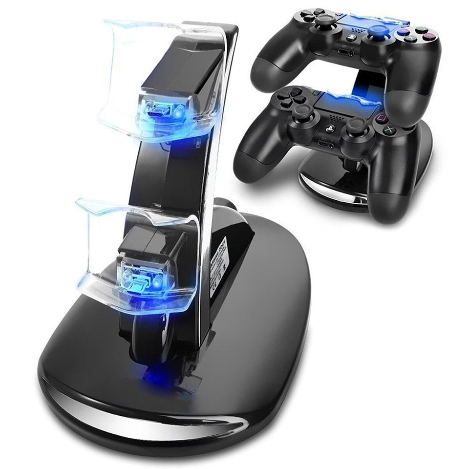 LED Dual USB Charger Charging Sony Playstation 4