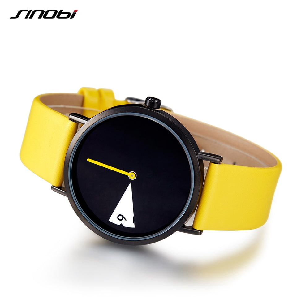 Cute Women Watch Creative Wristwatch Lady Clock Rotate Yellow Leather Band Wristwatches Clock Montres Femme Reloj Mujer