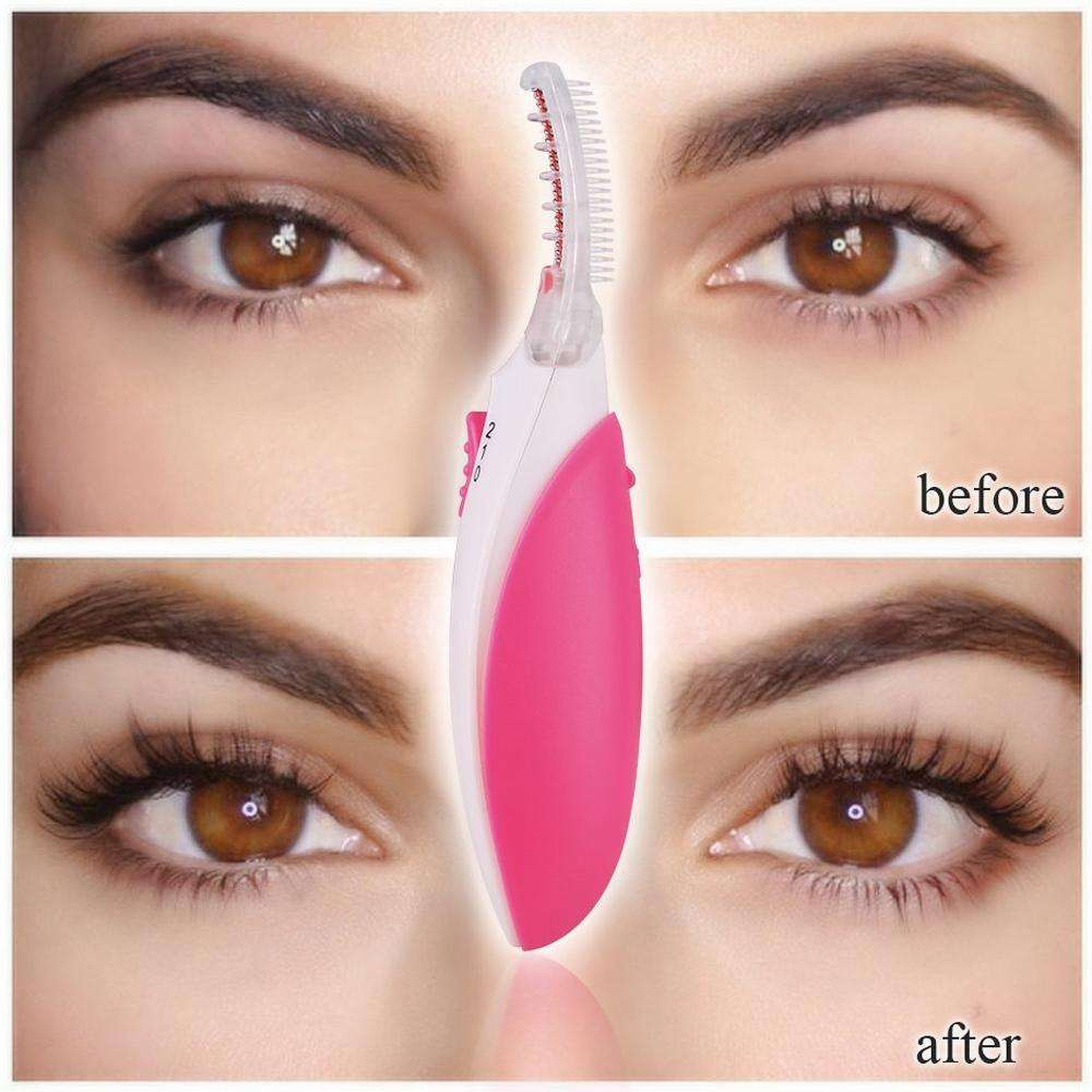 heated eyelash curler results. touchbeauty heated eyelash curler creates long lasting curled makeup results