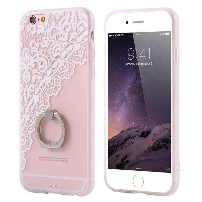 Phone Bags & Cases - Case Emboss Flower Phone Accessories With Ring Holder For IPhone 6 | 6s