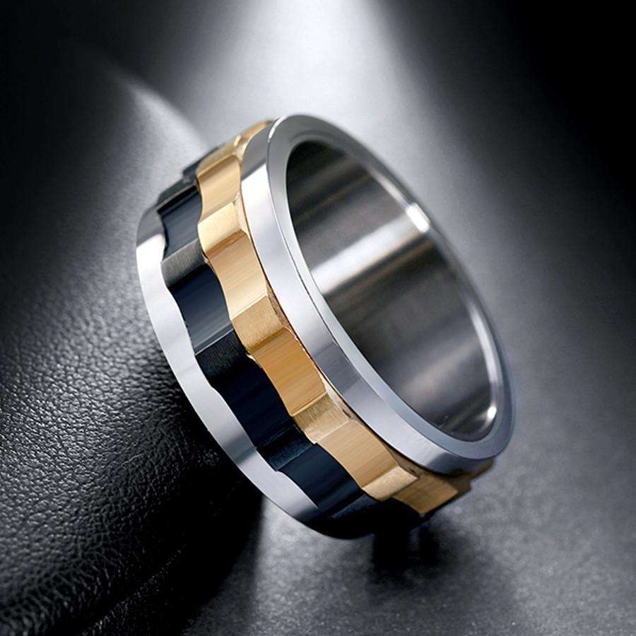 rings ring moveable gear stainless steel charming ring for men with unique design - Gear Wedding Ring