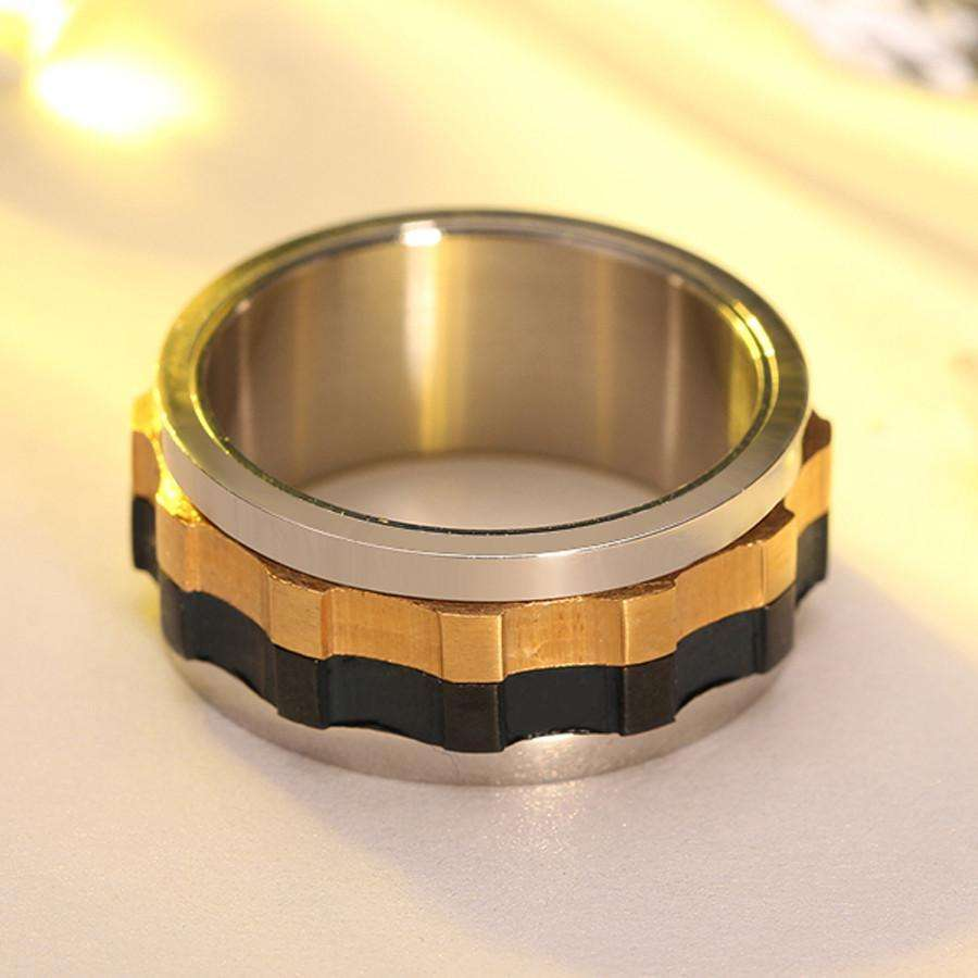 Rings - Ring Moveable Gear - Stainless Steel Charming Ring For Men With Unique Design