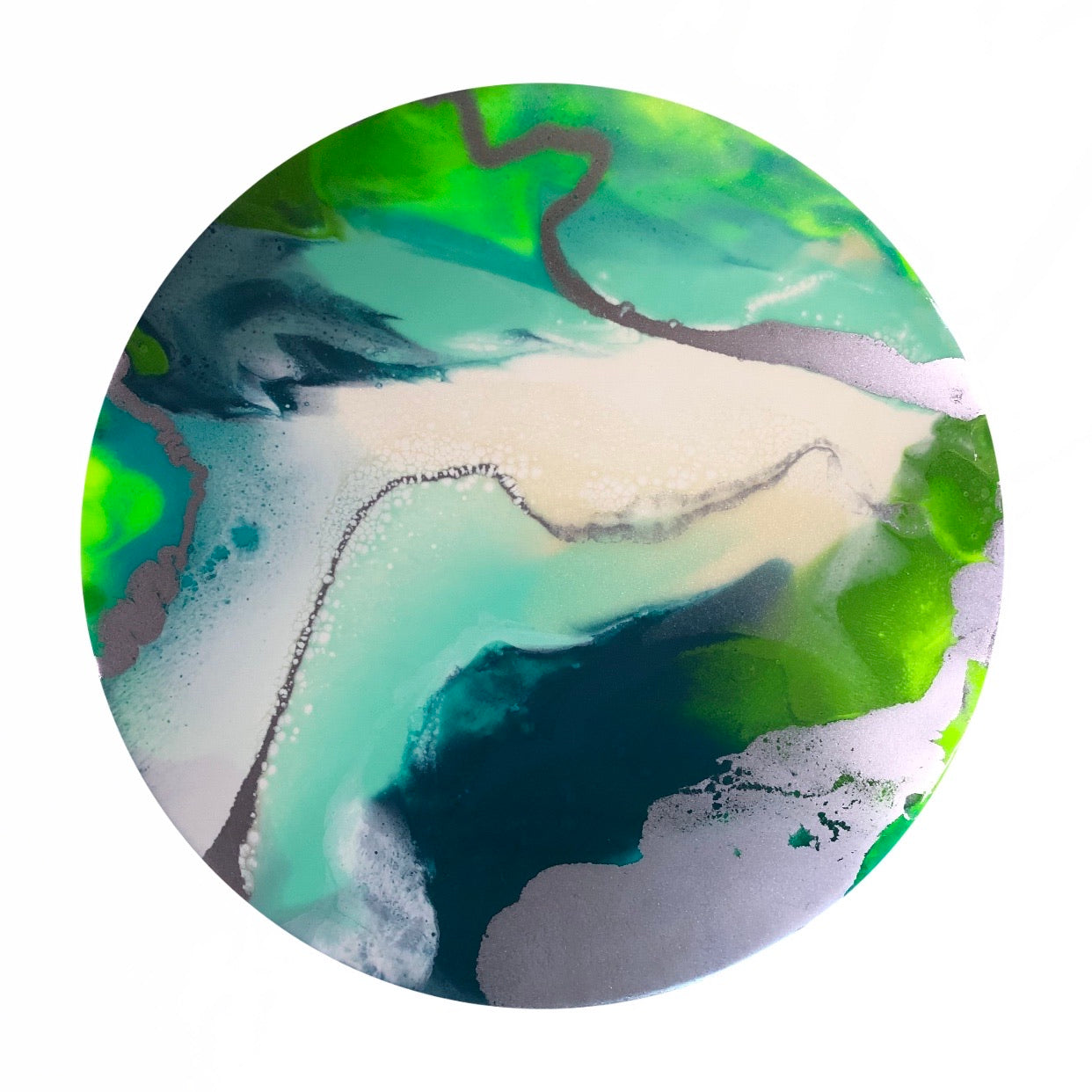 """Lime Splice"" 50cm round resin artwork"