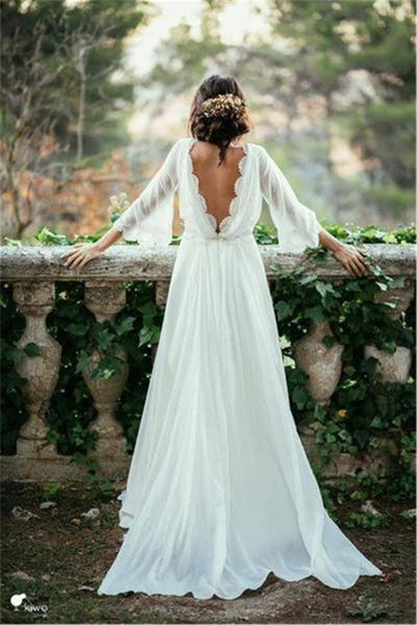 Lace backless boho wedding dress