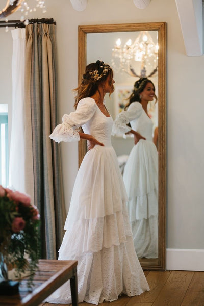 Lace Wedding Dresses,dresses, Rustic Wedding Dress,3/4 Sleeves Lace  bridal gown,  Lantern sleeve wedding dress - FlosLuna