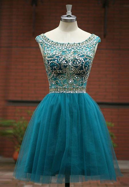 Green Beaded Tulle Short Prom/Homecoming Dress,Tulle Short Homecoming Dress with Jewels - FlosLuna