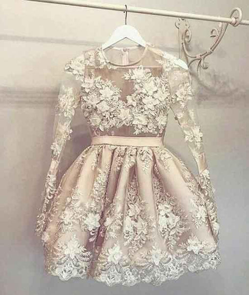 UNIQUE LONG SLEEVE CHAMPAGNE LACE SHORT PROM DRESS, LACE HOMECOMING DRESS WITH LONG SLEEVE - FlosLuna
