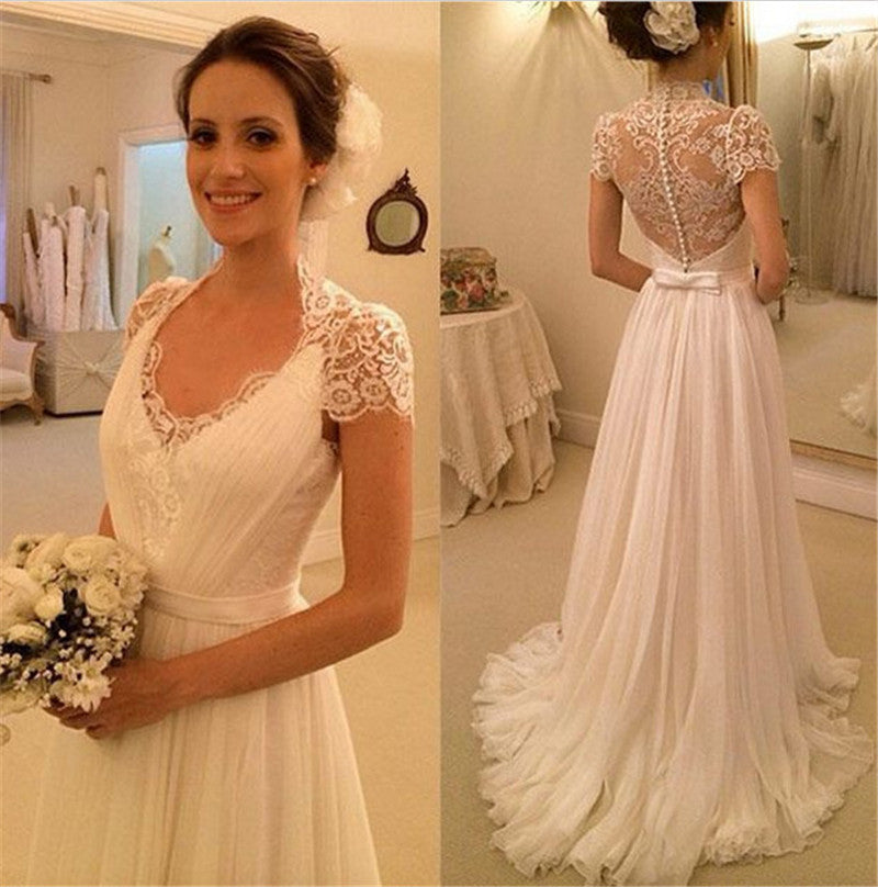 A-line Beach Wedding Dresses, Chiffon Wedding