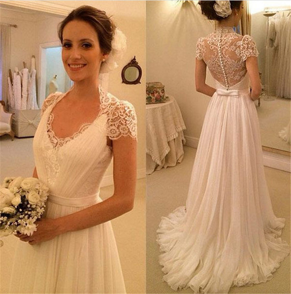 A-line Beach Wedding Dresses, Chiffon Wedding Dress, Short Sleeves See Through Lace Back Wedding Dress, Sheer Lace Back Elegant Bridal Gowns, Lace Back Wedding Dress with Buttons - FlosLuna
