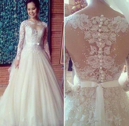 A-line Ivory Tulle Long Sleeve Lace Wedding Dress with Pearls - FlosLuna