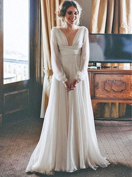 Amazing Long Sleeve V neck Simple Wedding Dress, Bohimian Wedding Dress With Sleeves, Low Back Wedding Dress - FlosLuna