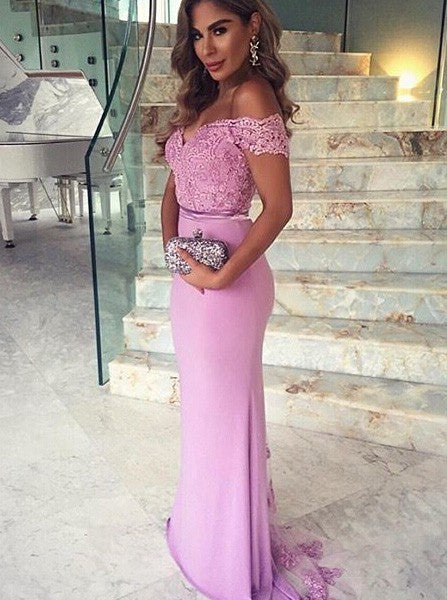 Amazing Mermaid Off Shoulder Sweep Train Lilac Bridesmaid Dress Formal Satin Prom Dress with Appliques V Neck Lace Evening Dress - FlosLuna