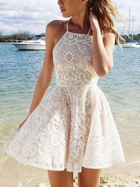 Modern A-line Halter Short White Criss-Cross Fashion Backless Lace Prom Homecoming Dress - FlosLuna