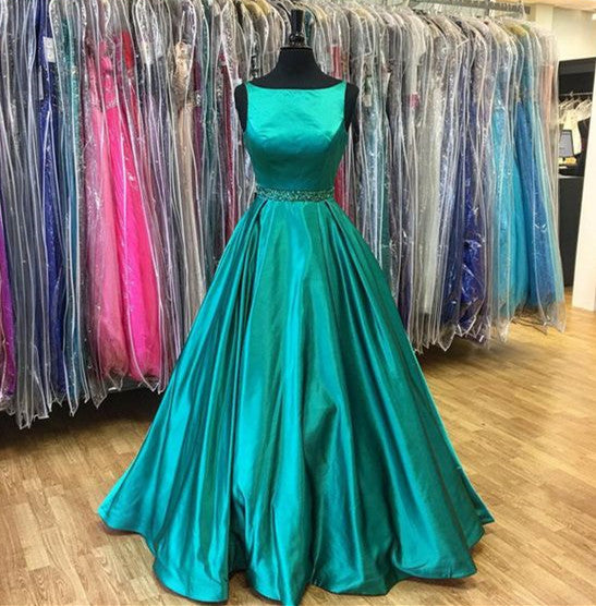 Elegant 2018 Bateau Sleeveless Long Prom/Evening Dress With Beading Satin Emerald Prom Dress Long - FlosLuna