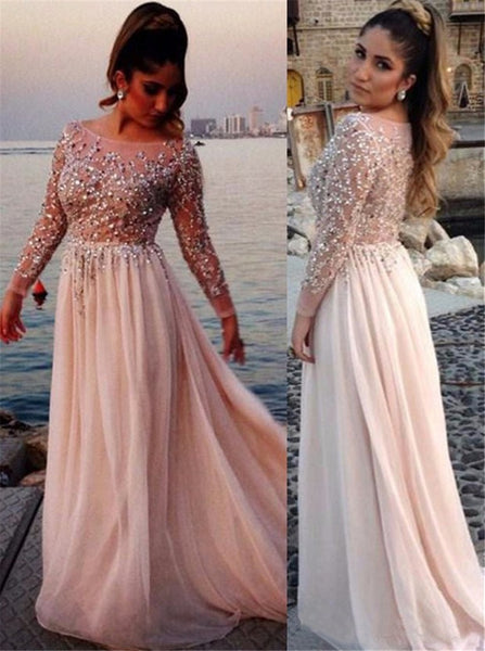 Long Sleeve Prom Evening Dress,Jeweled Prom Dress,Nude Prom Evening Dress,Wedding Party Dress,Long Sleeve Bridesmaid Dress - FlosLuna