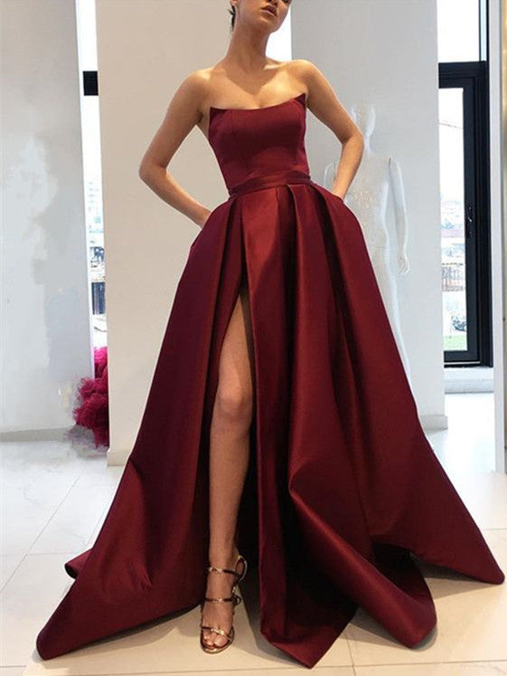 76b3ea333d97 Burgundy Prom Dresses Strapless Bodice Corset Long Evening Bridesmaid Gowns  With Leg Split