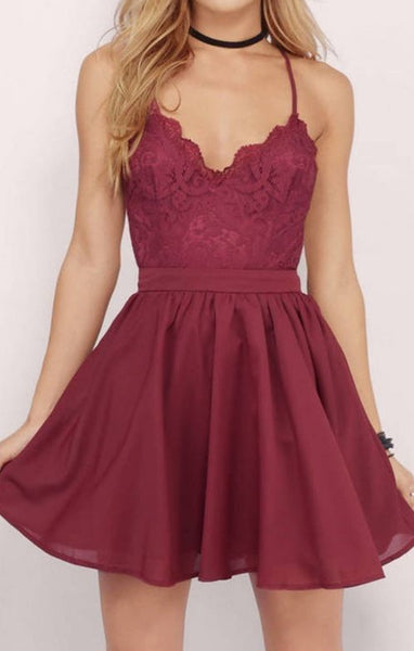 Burgundy Spaghetti Straps Short Lace Backless Prom Homecoming Dress,Criss Cross Open Back Homecoming Bridesmaid Dress - FlosLuna