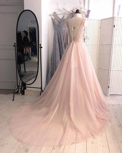 Charming A-Line Deep V-Neck Sleeveless Sweep Train Long Tulle Blush Prom/Evening/Wedding Dress - FlosLuna